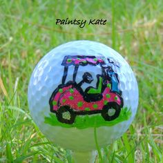 Hand Painted Golf Ball Golfer Gift Golf Cart by PaintsyKate, $5.00