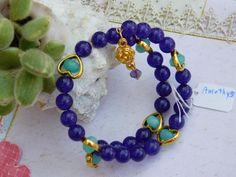 Bracelet wire wrapped Healing Semi Precious  Amethyst stones