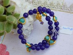 Bracelet wire wrapped Healing Semi Precious  Amethyst stones