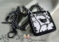Black and White Bird on a Branch Beadwoven Necklace Set - OOAK | KraftyMax - Jewelry on ArtFire