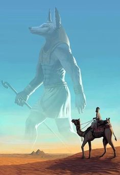 """Visions of the Past"" / Anubis (Rainer Petter Ribeiro / rainerpetterart on… Fantasy Creatures, Mythical Creatures, Fantasy Kunst, Fantasy Art, Arte Obscura, Egyptian Mythology, Egyptian Goddess, Egypt Art, Arte Horror"