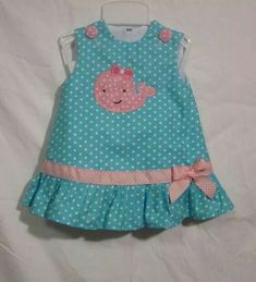 Items similar to Aqua Blue Ruffle Dress with White Polka Dots and Girly Pink Whale Applique on Etsy Baby Girl Dress Patterns, Toddler Girl Dresses, Little Girl Dresses, Kids Fashion, Fashion Clothes, Blue Fashion, Girl Clothing, Petite Fashion, Curvy Fashion