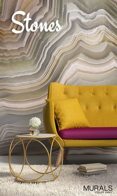 Stone wallpaper adds a cool, natural element that complements most decor styles. Easy to install rock murals featuring agate cross-sections to stone walls to collections of smooth river rocks.