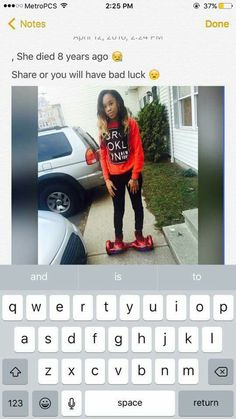 I'm still repinning but if she died 8 yrs ago how the fuck does she have a Hoverboard dat is how u know it's fake