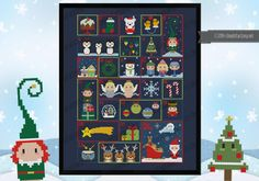 Oh, yes, Christmas Time! There is a better way to wait for the arrival of Santa Claus than an Advent Calendar? This cross stitch pattern will give to you and you children (or, why not, the children inside you) the right amount of cuteness and joy to get