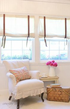 Drop Cloth Window Shades   Simple window shades made out of drop cloths from Lowes.