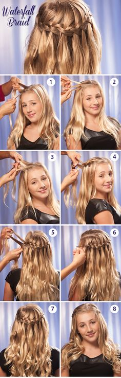 Part hair in center. Section top 1/3 of your hair and begin from forehead. (Work towards back.) Divide each section in to 3.Take the 1st section and braid in a French braid style. When you get to the 2nd braid, release a strand from the braid. Take outside hair to replace the hair you just dropped. Continue dropping strands and working in new hair until section is finished. Repeat same pattern for the remainder and secure with pins. http://www.hairperfecter.com/how-to-make-a-waterfall-braid/