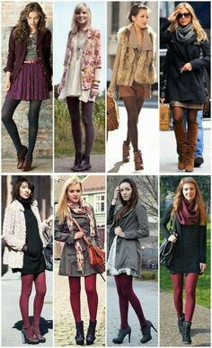 Tights Outfit Winter, Colored Tights Outfit, Winter Tights, Winter Fashion Outfits, Fall Winter Outfits, Autumn Winter Fashion, Mode Outfits, Casual Outfits, Pantyhose Outfits