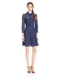 Nanette Lepore Lace Fever Shirt Dress, Indigo - http://www.womansindex.com/nanette-lepore-lace-fever-shirt-dress-indigo/