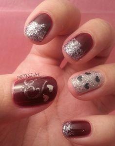 Mivi Nail Art: Manicura tono vino tinto y glitter plata con corazones // San valentin III