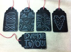 Scrapbook Tags Piece Set of Very Unique Valentine Theme Black Embossed Scrapbooking/Gift/Chalkboard Tags Valentine Theme, Valentines Day, Chalkboard Tags, Handmade Tags, Emboss, Dog Tag Necklace, Scrapbooking, Paper Crafts, Personalized Items