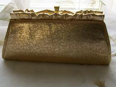 Gold clutch purse-vintage purse  gold clutch bag by NewtoUVintage