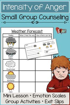 Small group counseling lesson on the intensity of anger. It takes students through scaffolded activities that support their awareness of when they are calm, bothered, frustrated, angry, and furious. Activities use a weather metaphor to engage and give students a vocabulary for anger and it's range. Perfect for 1st-3rd grade and with individual students or small groups.  This product contains a facilitator guide, mini lesson, group activities, independent student scales and exit slips.