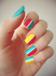 Charming Multicolor Simple Nail Art Designs for 2019 Still choose one nail polish shade to paint your nails? Nails with a different color Trendy Nail Art, Easy Nail Art, Garra, Color Block Nails, Es Nails, Geometric Nail Art, Striped Nails, Simple Nail Art Designs, Yellow Nails