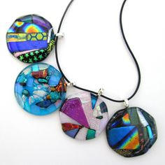 Glass pendant jewellery sale, dichroic glass sparkly pendant necklace, rainbow pendant, patterned glass jewelry, birthday gifts for her by BlueBoxStudio on Etsy