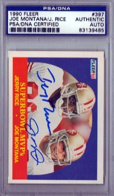 Joe Montana   Jerry Rice Autographed 1990 Fleer Card PSA DNA Slabbed .   119.00. 47159b869