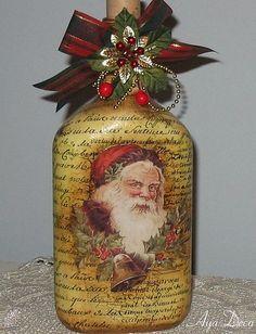 Santa Decoupage Bottle - for inspiration Wine Bottle Art, Painted Wine Bottles, Diy Bottle, Wine Bottle Crafts, Bottles And Jars, Jar Crafts, Decorated Bottles, Shell Crafts, Glass Bottles