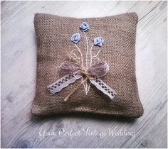 Rustic Burlap Ring Bearer Pillow - give a stylish touch to the past with these nostalgic details.