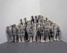 Kiki Smith: Lucy's Daughters. 1990. Silkscreen on cloth, 60 unites, figures 8-12 inches high.  A Gathering, 1980-2005.