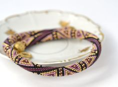 Violet Luxury plum Bead Crochet Necklace Lilac Black 24K Gold Pink Geometric Modern Beadwork Jewelry Multicolors Made to order