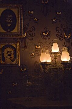 Haunted Mansion Wallpaper... wish someone made this.  I know there's a stencil available somewhere online...