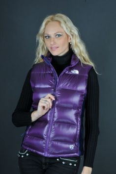 "Purple The North Face ""Crimptastic"" down vest Black Raincoat, Hooded Raincoat, Raincoats For Women, Jackets For Women, North Face Women, The North Face, Purple Vests, Down Suit, Down Puffer Coat"