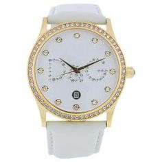 @Overstock.com - This classic timepiece by Dolce and Gabbana features a stainless steel case and leather strap. A white dial, precise quartz movement and a water-resistance level of up to 30 meters finish this fine timepiece.http://www.overstock.com/Jewelry-Watches/Dolce-Gabbana-Womens-Gloria-Watch/6155860/product.html?CID=214117 $178.99