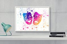 Printable Watercolor Theatre MasksTheatre by HappyartWorkshop