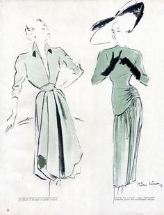 Pierre Simon 1947 Lucien Lelong Jacques Fath Fashion Illustration