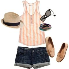 Inspiration for my LA roadtrip outfit. Just change the loafers out with better shoes :) Would be cute to wear running errands or grabbing lunch with a friend Fashion Moda, Cute Fashion, Look Fashion, Womens Fashion, Fashion Trends, Beach Fashion, Beach Attire, Beachwear For Women, Cute Summer Outfits