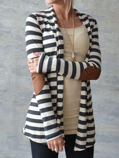 Women Black White PU Patching Elbow Long Sleeve Cardigan