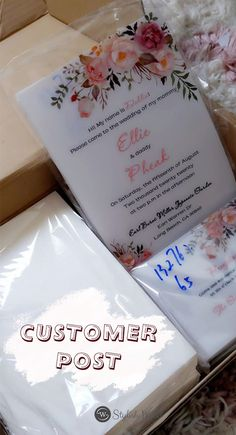 exquisite pink floral uv printing wedding invitations on Vellum paper SWUV012 #wedding#weddinginvitations#stylishwedd#stylishweddinvitations #vellumweddinginvitations
