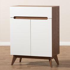 For the Home Calypso Mid - Century Modern Wood Storage Shoe Cabinet - Brown - Baxton Studio : Target Shoe Cabinet Design, Shoe Storage Cabinet, Bench With Shoe Storage, Storage Cabinets, Shoe Cabinet Entryway, Hat Storage, Wood Storage, Storage Spaces, Decorative Storage