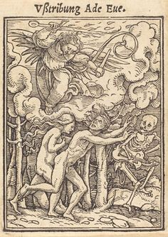 "Hans Holbein the Younger (1497-1543) - From Holbein's Dance of Death, Expulsion from Paradise. This is one of the ""printer's proofs"" by Holbein, 1526."