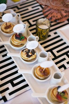 Pancake Flight: A whimsical dessert from Truffleberry Market in Chicago is a flight of miniature pancakes, served with sweet toppings such as chocolate hazelnut, Meyer lemon curd with berries, and maple bacon. Brunch Mesa, Brunch Table, Brunch Party, Brunch Wedding, Catering Food, Food Menu, Catering Display, Food Trucks, Cake Platter
