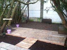 Wooden platform we've made in the garden from leftover wood.