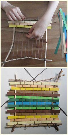 Webrahmen aus Ästen, weaving
