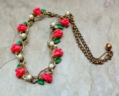 Retro Vintage Coral Celluloid Rose Leaves Necklace by WillowBloom, $34.50
