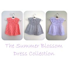 The Summer Blossom Dress Collection E-Book Baby Girl Dress Patterns, Baby Dress, Blue Sky Fibers, Crochet Fall, Baby Scarf, Christmas Knitting Patterns, Lang Yarns, Dress Gloves, Red Heart Yarn