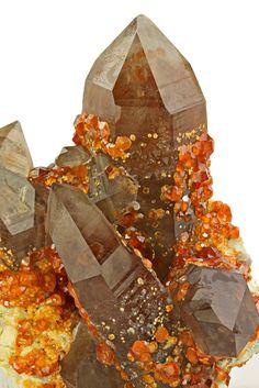 Quartz with Spessartine garnet; Wushan Spessartine Mine, Fujian Province, China