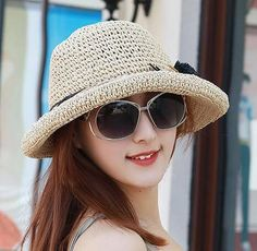 UV summer straw crimping hat with pom pom womens sun protection hats