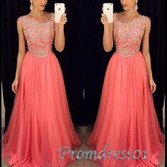 Long prom dress, beaded homecoming dress, Pretty coral chiffon long modest dress…