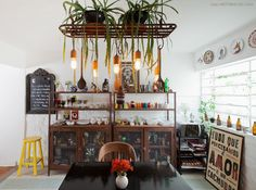industrial kitchen with plants and colors