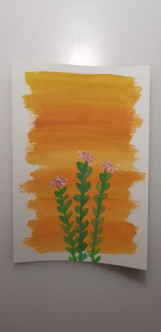 Green flower with orange background made with watercolors. Orange Background, Green Flowers, Watercolor Flowers, Watercolors, Drawings, Painting, Art, Watercolor, Projects
