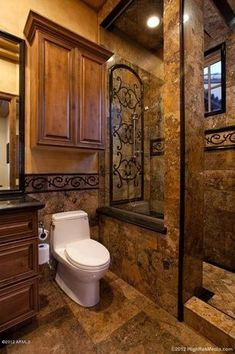 If you have a small bathroom in your home, don't be confuse to change to make it look larger. Not only small bathroom, but also the largest bathrooms have their problems and design flaws. Rustic Bathroom Designs, Rustic Bathrooms, Dream Bathrooms, Beautiful Bathrooms, Bathroom Ideas, Tuscan Bathroom Decor, Bathroom Furniture, Bathroom Colors, Dark Bathrooms