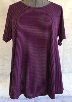 0865ab96 LuLaRoe Irma Top Tunic Shirt Navy Blue Red Stripes High-Low Large L #LuLaRoe  #Tunicdress #ebay
