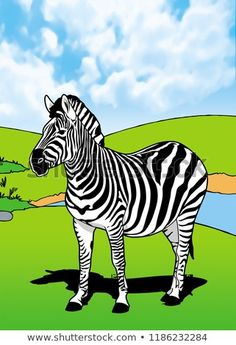 Zebra Mammals Animal Illustration with smooth graphics and full coloring. So that the illustration of this Zebra animals will be interesting when used as an image of supporting material, or to be seen. Alphabet Wall Art, Animal Alphabet, Letter Art, Nursery Art, Zebra Nursery, Zebra Art, Name Art, Zebras, My Animal