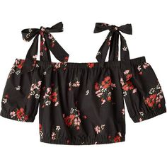 Open Shoulder Marguerite Floral Poplin Top (835 BRL) ❤ liked on Polyvore featuring tops, shirts, crop tops, cold shoulder tops, cut off shoulder top, open shoulder top, floral tops and floral off the shoulder top
