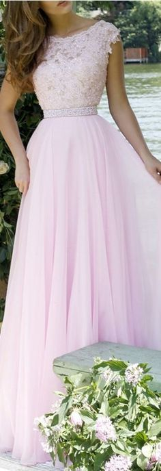 Elegant Prom Gown,Pink Prom Gown,Lace Prom Gown,Cap