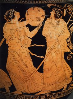 Naples, Museo Nazionale Archeologico. Stamnos. Style: later classical, rich but not ornate. Women or maenads with thrysi and tambourines dance around a pillar idol of Dionysos. More maenads with thrysi and tambourines join the celebrations